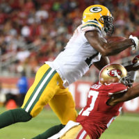 Green Bay Packers wide receiver Davante Adams catches a pass against San Francisco 49ers cornerback Keith Reaser during the second quarter Friday, Aug. 26, 2016, in Santa Clara, Calif.